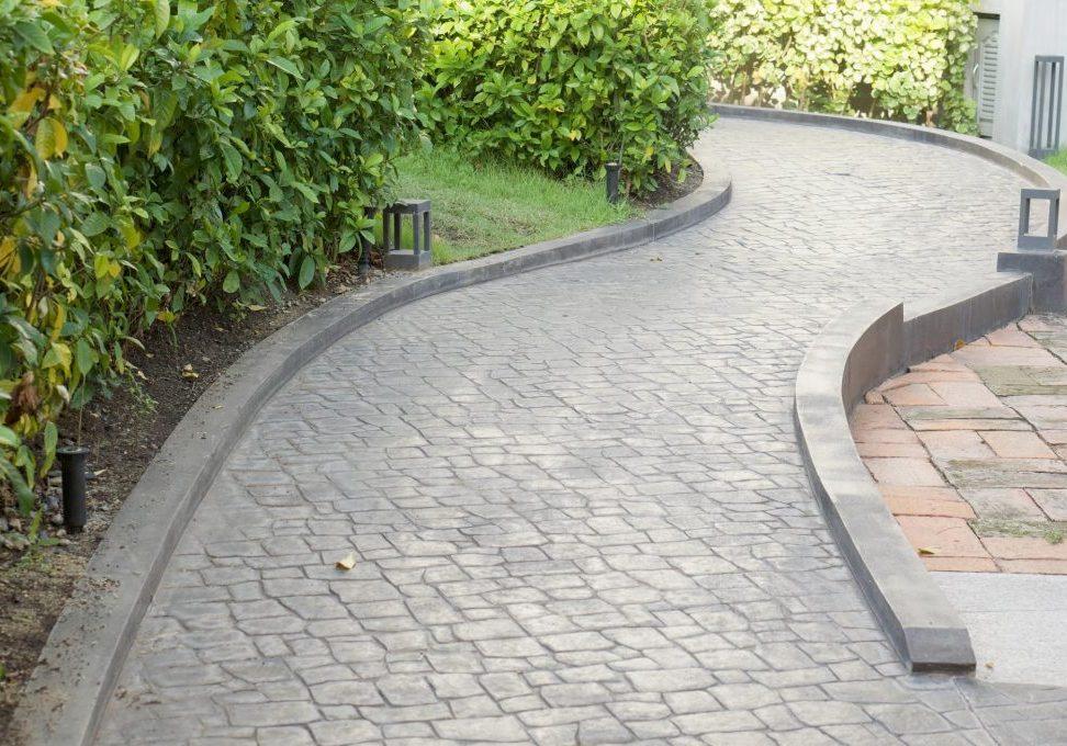concrete path walks in the garden